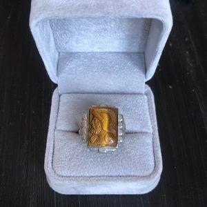 Vintage Tiger's Eye Carved Sterling Silver Ring